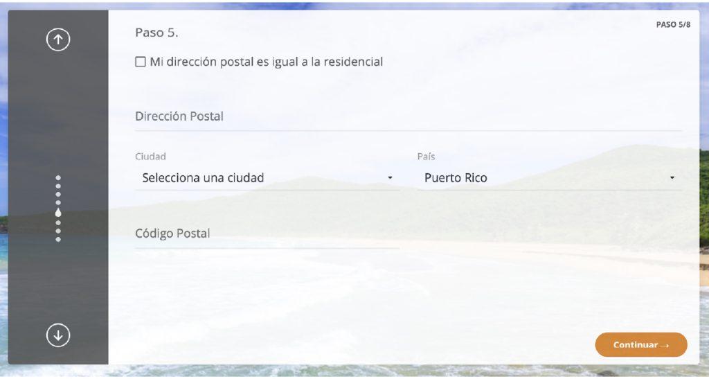 Paso 5: Entra información sobre tu dirección postal