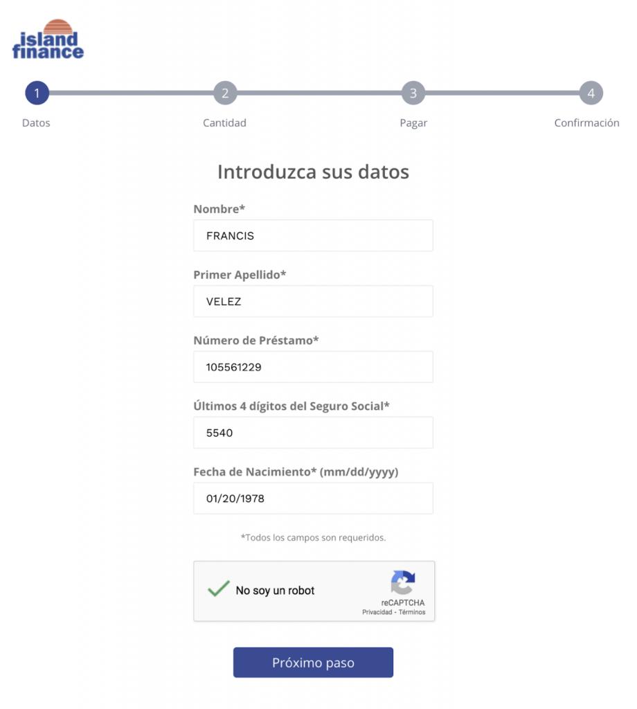 Paso 1 Entra los datos de tu préstamo personal